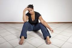olycklig kvinna Royaltyfri Fotografi