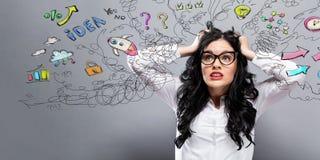Olycklig kvinna med många tankar arkivfoton