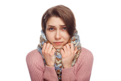 Olycklig kvinnlig som ser sjuk Fotografering för Bildbyråer