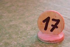 Olycklig tabell med nummer 17 Fotografering för Bildbyråer
