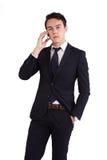 Olycklig ung Caucasian hållande mobiltelefon för affärsman Arkivbilder