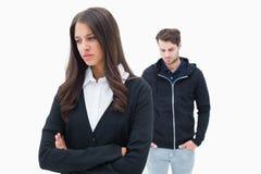 Olyckliga par som inte till varandra talar Fotografering för Bildbyråer