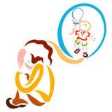 Olyckligt barn som drömmer av glädje, skrik och gyckel royaltyfri illustrationer
