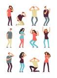 Olyckligt frustrerat folk Hjälplös deprimerad man och kvinna Man- och kvinnligtecknad filmtecken för ledsen och dålig känsla stock illustrationer
