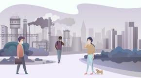 Olyckligt ledset folk som bär skyddande framsidamaskeringar och går nära deprimerande fabriksrörstad med rök på bakgrund royaltyfri illustrationer