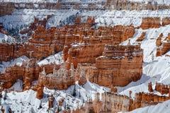 Olycksbringare och snö, kanjonvägg av Bryce Canyon National Park Royaltyfri Foto
