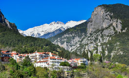 Olymp in Greece mountain and the city around it Royalty Free Stock Photography