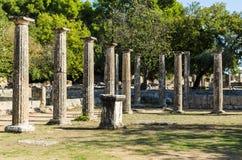 Olympia, Grécia - 31 de outubro de 2017: Ruínas da Olympia antiga, Peloponnesus, Grécia Fotografia de Stock Royalty Free