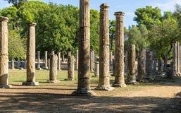 Olympia, Grécia - 31 de outubro de 2017: Ruínas da Olympia antiga, Peloponnesus, Grécia Imagem de Stock