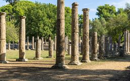 Olympia, Greece - October 31, 2017: Ruins of the ancient Olympia, Peloponnes, Greece stock image