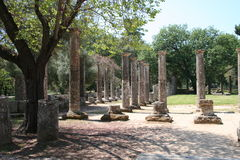 Olympia, Greece: Ruins and Columns Royalty Free Stock Photo