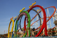 Olympia Looping Roller coaster ride at Oktoberfest in Munich, Ge Royalty Free Stock Image