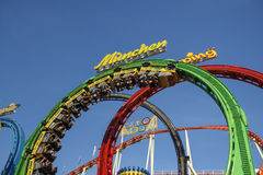 Olympia Looping Roller coaster ride at Oktoberfest in Munich, Ge Stock Photos