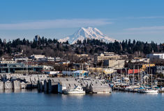 Olympia And Mt rainier photo stock