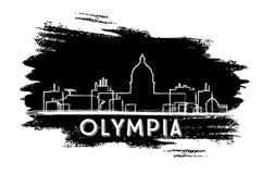 Olympia Skyline Silhouette Abbozzo disegnato a mano Immagine Stock Libera da Diritti