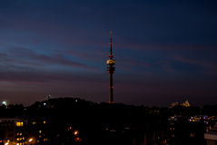 Olympia Turm Munich. View of the olympic tower in Munich by night Stock Image