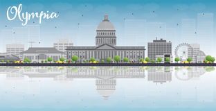 Olympia (Washington) Skyline with Grey Buildings and reflections. Olympia (Washington) Skyline with Grey Buildings, Blue Sky and reflections. Vector Illustration vector illustration