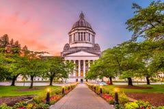Olympia, Washington, USA State Capitol. Building at dusk stock image