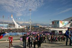 Olympiad of Sochi-2014. People go to the Olympic Park stadium Royalty Free Stock Photo