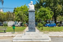Monument to Aristotle in Olympiada, Greece royalty free stock photo
