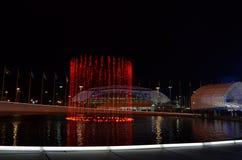 Olympiagelände in Sochi nachts Lizenzfreie Stockbilder