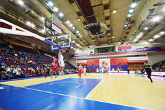 Olympiakos (Greece) and Lokomotiv-Kuban (Russia) teams play basketball Royalty Free Stock Images