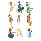 Olympian Greek Gods set, Dionysus, Hermes, Hephaestus,Zeus, Hades, Poseidon, Aphrodite, Artemis ancient Greece mythology. Characters character vector vector illustration