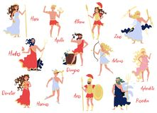 Olympian Greek Gods set, Hera, Dionysus, Zeus, Demetra, Hermes, Ares, Artemis, Aphrodite, Poseidon, ancient Greece myths. Cartoon characters vector Illustration vector illustration