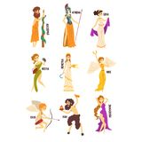 Olympian Greek Gods set, Persephone, Nike, Demetra, Hestia, Gera, Athena, Asclepius ancient Greece mythology characters. Character vector Illustrations isolated stock illustration