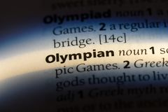 Olympian. Word in a dictionary.  concept stock images