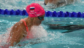 Olympian and world champion swimmer Yulia YEFIMOVA RUS Royalty Free Stock Photography