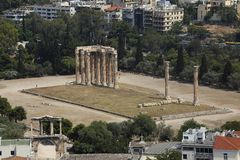 olympian zeus ναών καταστροφών της Αθήνας Ελλάδα Στοκ φωτογραφία με δικαίωμα ελεύθερης χρήσης