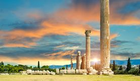 Olympian Zeus columns  ruins  in Athens  Greece. Olympian Zeus columns  ruins,sunset,  in Athens  Greece Royalty Free Stock Photography
