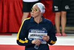 Olympian zwemmer Evelyn VERRASZTO HUN Stock Foto's