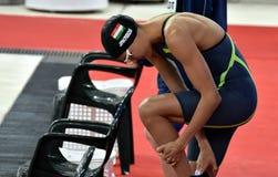 Olympian zwemmer Zsuzsanna JAKABOS HUN Royalty-vrije Stock Foto's