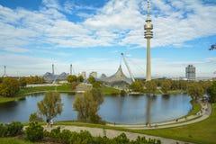 Olympiapark在慕尼黑,巴伐利亚,德国 免版税库存图片