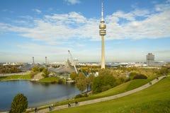 Olympiapark在慕尼黑,巴伐利亚,德国 库存图片