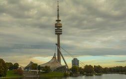 Olympiapark在慕尼黑,巴伐利亚,德国 库存照片