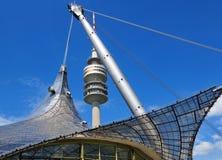 Olympiapark的体育场塔在慕尼黑 库存图片