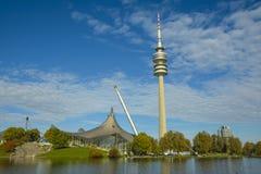 Olympiapark i Munich, Bayern, Tyskland Arkivfoton