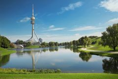 Olympiapark, Munich. Olympic park with Olympic tower, Bavaria, G. Ermany Royalty Free Stock Photography