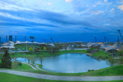 Olympiapark munich. Munich, Olympic Stadium, Olympiapark, Panoramic, City, Built Structure, City, Nature, Travel Destinations, Sport, Built Stock Photo