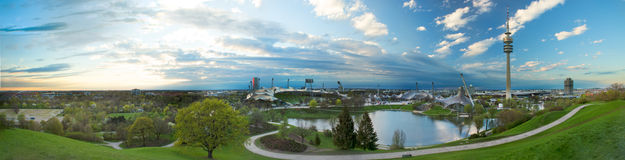 Olympiapark munich. Munich, Olympic Stadium, Olympiapark, Panoramic, City, Built Structure, City, Nature, Travel Destinations, Sport, Built Royalty Free Stock Photo
