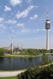 Olympic park witth Olympic tower - Munich Stock Photo
