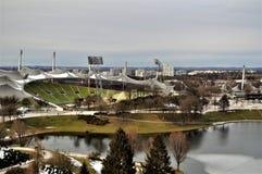 Olympiastadion, opinión del birdseye del estadio Olímpico Munich foto de archivo