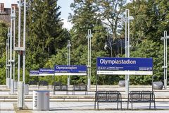Olympiastadion S-Bahn station in Berlin, Germany Stock Image