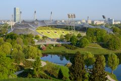 Olympiastadion is a stadium located in Olympiapark Munich. Munich, Germany - April 22, 2018: Olympiastadion is a stadium located in Olympiapark in northern stock image
