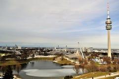 Olympiastadion, vista dello Stadio Olimpico Monaco di Baviera fotografia stock libera da diritti