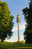 Olympiaturm television tower rising above Olympiapark Stock Image