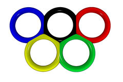 Olympic. The image of Olympic rings in 3D. Symbol of Olympic Games Royalty Free Stock Photos